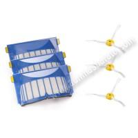 Filtro AeroVac y Kit cepillos laterales iRobot Serie 600 pack de 3
