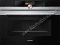 Horno multifuncion Pirolitico Siemens CM676G0S6 Cristal negro e Inox 45cm A