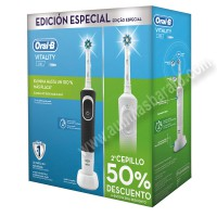 Pack Cepillos de dientes electricos Braun OralB DUOD100 Vitality CrossAction Negro Blanco