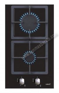 Placa modular con mandos Cata LCI 302 BK Cristal negro 2 zonas
